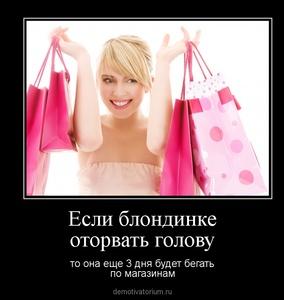 Демотиватор Если блондинке оторвать голову то она еще 3 дня будет бегать по магазинам