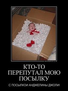 демотиватор КТО-ТО ПЕРЕПУТАЛ МОЮ ПОСЫЛКУ С ПОСЫЛКОЙ АНДЖЕЛИНЫ ДЖОЛИ! - 2011-11-09