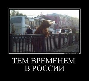 демотиватор ТЕМ ВРЕМЕНЕМ  В РОССИИ  - 2011-11-11
