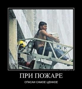 демотиватор ПРИ ПОЖАРЕ СПАСАЙ САМОЕ ЦЕННОЕ - 2011-12-28