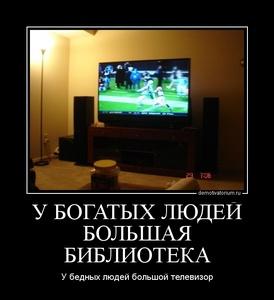 Демотиватор У БОГАТЫХ ЛЮДЕЙ БОЛЬШАЯ БИБЛИОТЕКА У бедных людей большой телевизор