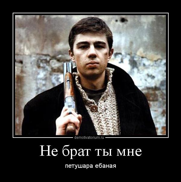 демотиватор Не брат ты мне петушара ебаная - 2012-2-27