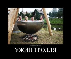 Демотиватор УЖИН ТРОЛЛЯ