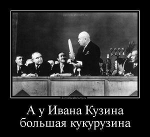Демотиватор А у Ивана Кузина большая кукурузина