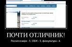 Демотиватор ПОЧТИ ОТЛИЧНИК! Россия в мире - 5, ОБЖ - 5, физкультура - 4.