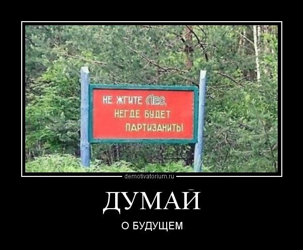 демотиватор ДУМАЙ О БУДУЩЕМ - 2012-7-31