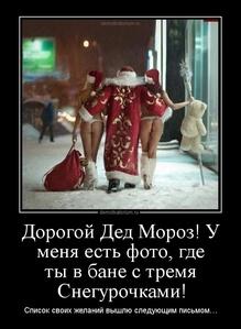 Демотиватор Дорогой Дед Мороз! У меня есть фото, где ты в бане с тремя Снегурочками! Список своих желаний вышлю следующим письмом…