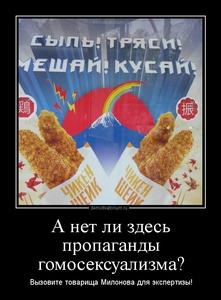 Демотиватор А нет ли здесь пропаганды гомосексуализма? Вызовите товарища Милонова для экспертизы!