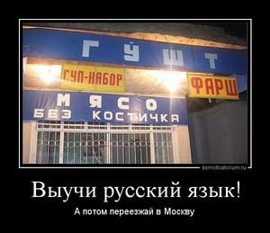 Демотиватор Выучи русский язык! А потом переезжай в Москву