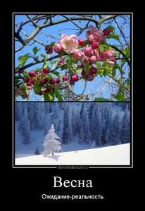 демотиватор Весна Ожидание-реальность