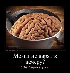 Демотиватор «Мозги не варят к вечеру? Забей! Сваришь их утром.»