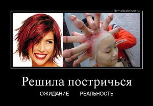 демотиватор Решила постричься ОЖИДАНИЕ       РЕАЛЬНОСТЬ - 2013-5-29