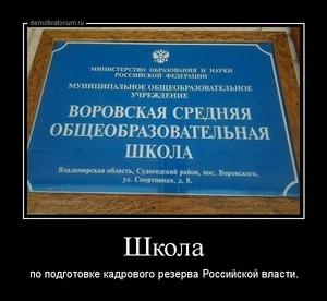 демотиватор Школа по подготовке кадрового резерва Российской власти.