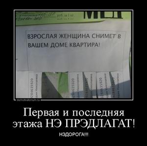демотиватор Первая и последняя этажа НЭ ПРЭДЛАГАТ! НЭДОРОГА!!! - 2013-7-26