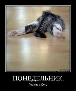 демотиватор ПОНЕДЕЛЬНИК. Пора на работу. - 2013-7-28