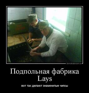 Демотиватор Подпольная фабрика Lays вот так делают знаменитые чипсы