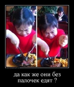 Демотиватор да как же они без палочек едят ?