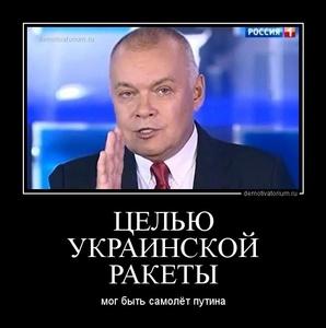 демотиватор ЦЕЛЬЮ УКРАИНСКОЙ РАКЕТЫ мог быть самолёт путина - 2014-7-18