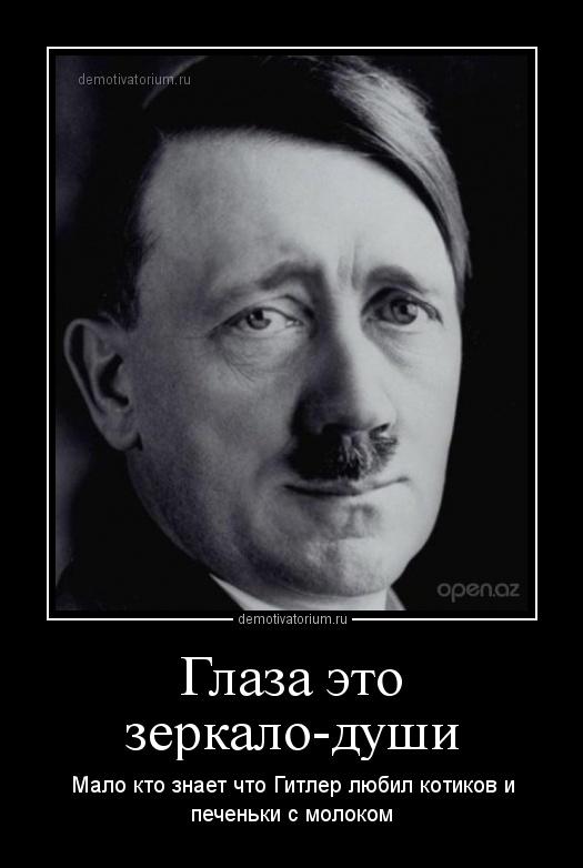 30159fe14e97 Демотиватор Глаза это зеркало-души Мало кто знает что Гитлер любил котиков  и печеньки с молоком