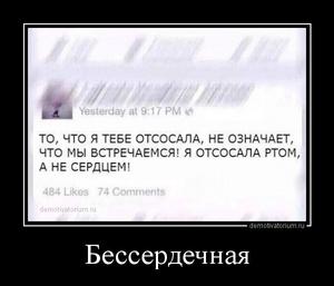 демотиватор Бессердечная  - 2014-8-28