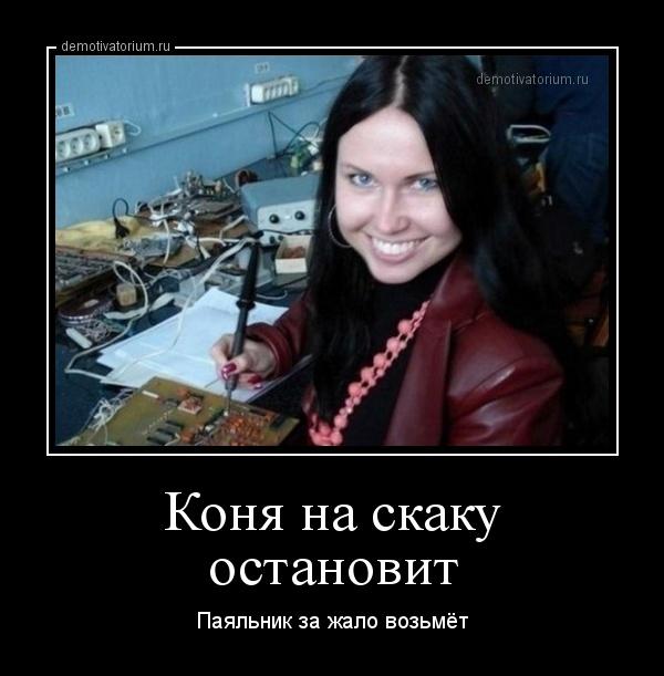 демотиватор Коня на скаку остановит Паяльник за жало возьмёт - 2014-9-19