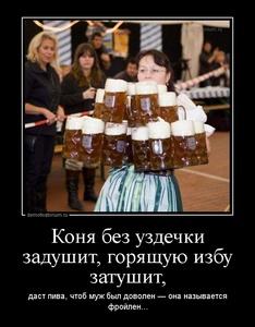 Демотиватор Коня без уздечки задушит, горящую избу затушит, даст пива, чтоб муж был доволен — она называется фройлен...