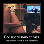Демотиватор Всё правильно делает. Бабы приходят и уходят а Путин это навсегда.