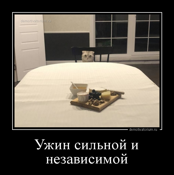 демотиватор Ужин сильной и независимой  - 2020-1-27