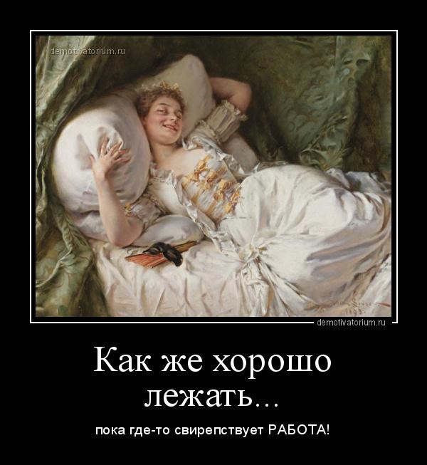 демотиватор Как же хорошо лежать... пока где-то свирепствует РАБОТА! - 2020-9-29